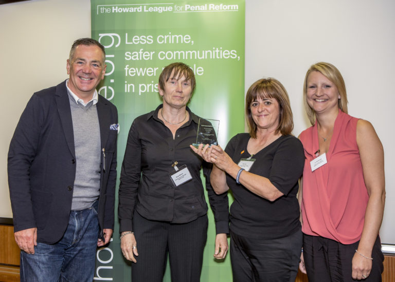 Professor David Wilson with Swindon Sex Worker Outreach Project (SWOP) The Nelson Trust, runner up in the women category. The Howard League for Penal reform's Community Awards 2015