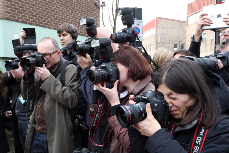 Photographers outside Pentonville prison