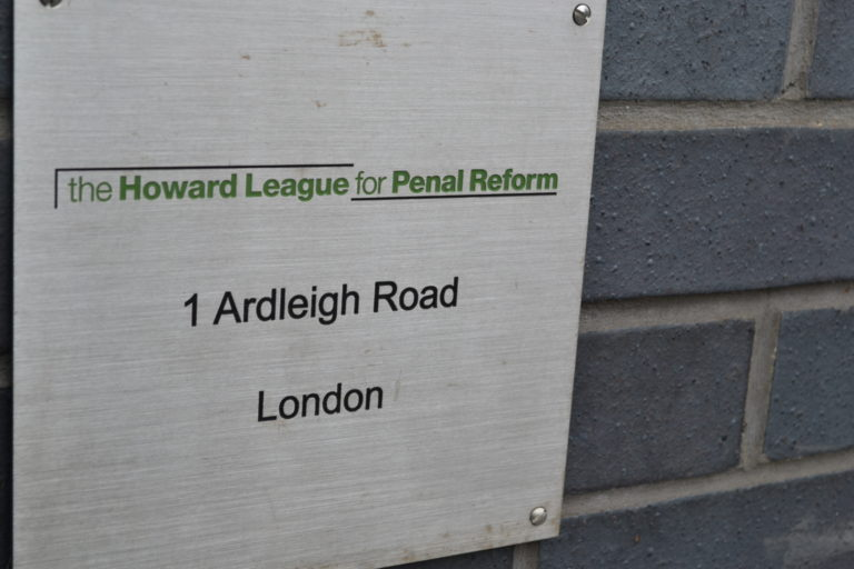 Sign outside the front door of the Howard League's office