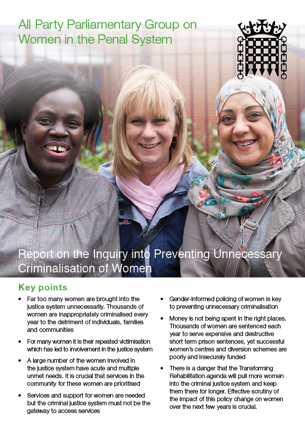 Report on the Inquiry into Preventing Unnecessary Criminalisation of Women front cover