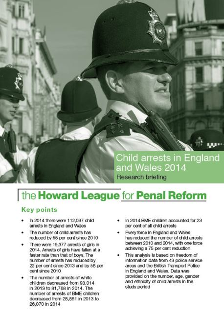Child arrests in England and Wales 2014 research briefing cover