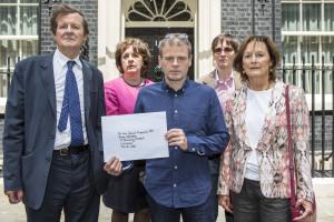 Frances Crook, Mark Haddon, Rachel Billington, Sir David Hare and AL Kennedy present a letter at Downing Street