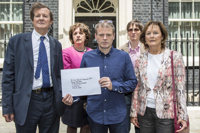 Frances Crook, Mark Haddon, Rachel Billington, Sir David Hare and AL Kennedy present a letter at Downing Street