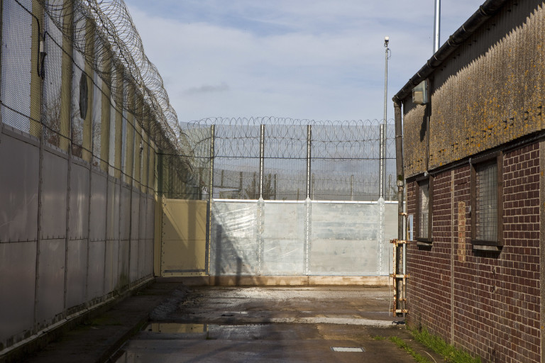 Perimeter fencing and barbed wire at Guys Marsh prison