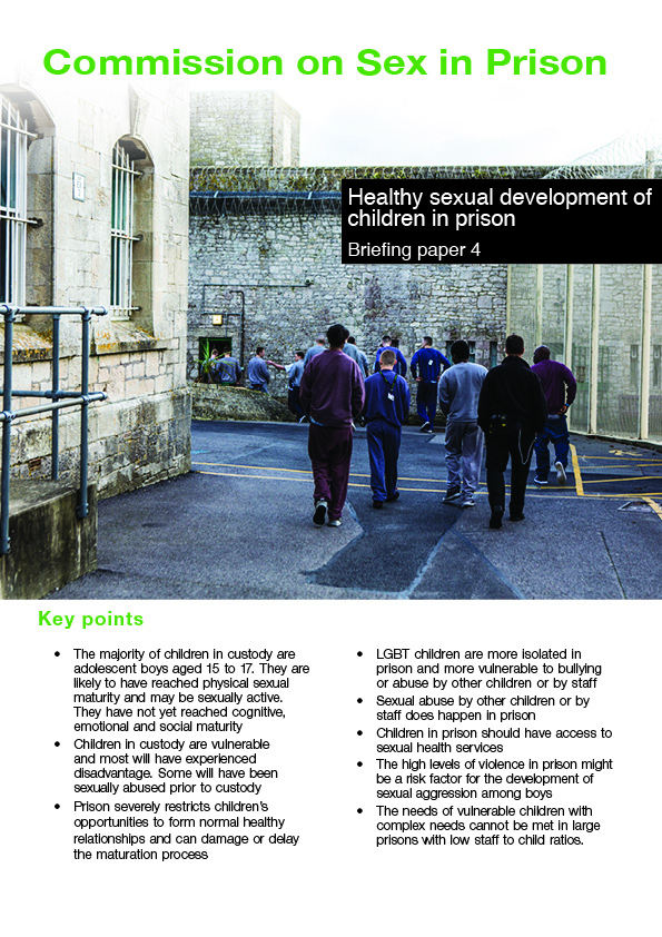 Front page of report on healthy sexual development of children with an image of young people in a prison yard