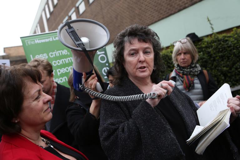 Carol Ann Duffy reads a poem outside Pentonville prison