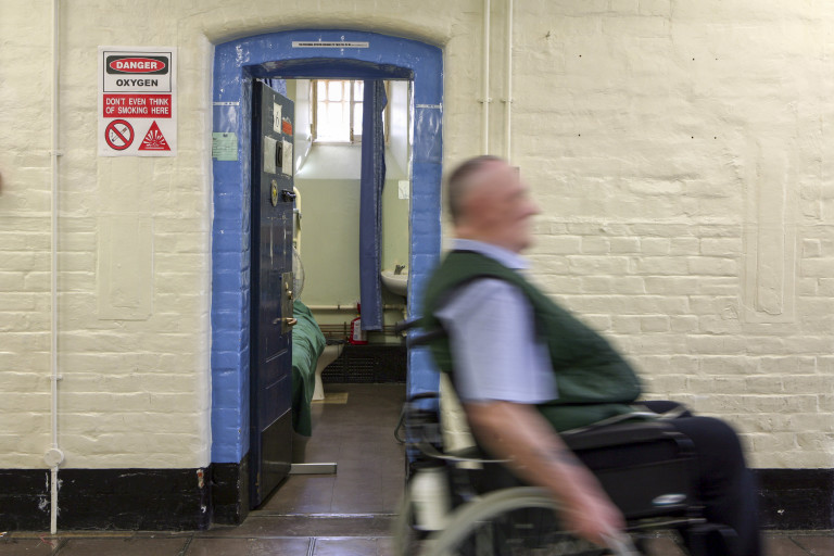 A prisoner in a wheelchair in Wandsworth prison