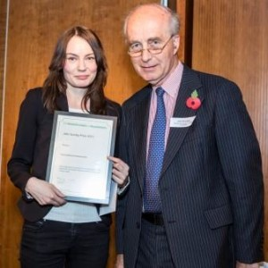 Magdalena Tomaszewska from the University of Surrey is presented with the John Sunley Prize by John Remington of the Bernard Sunley Charitable Foundation at the Howard League for Penal reform AGM held at the Kings fund. 4th November 2015. Usage must be credited © prisonimage.org