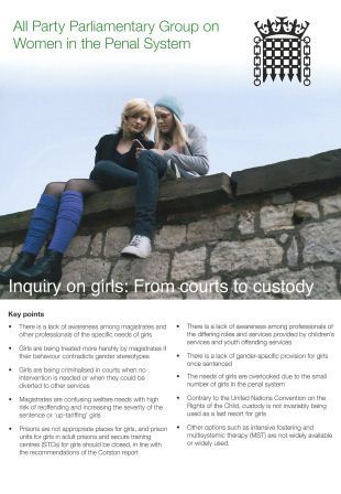 Inquiry on girls: from Courts to custody report cover