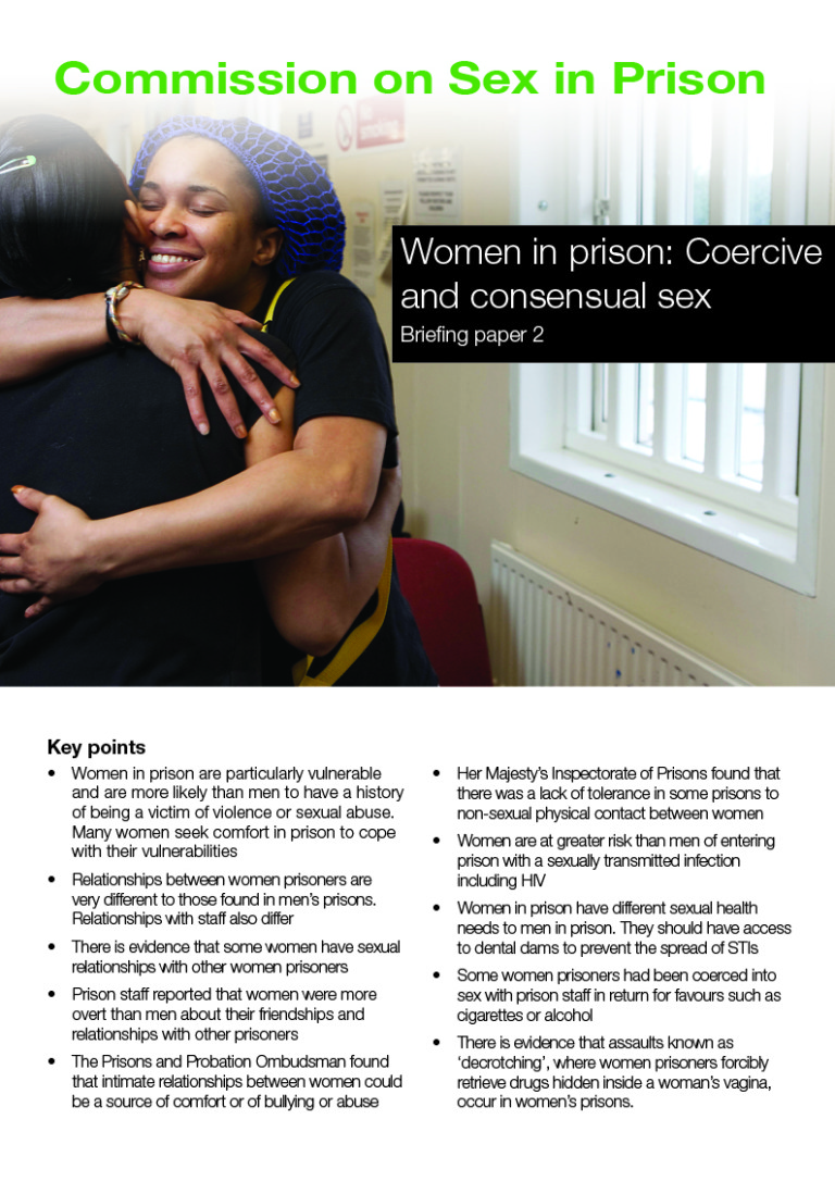Women in prison. Coercive and consensual sex briefing paper 2 cover