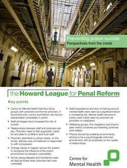 Preventing prison suicide report cover