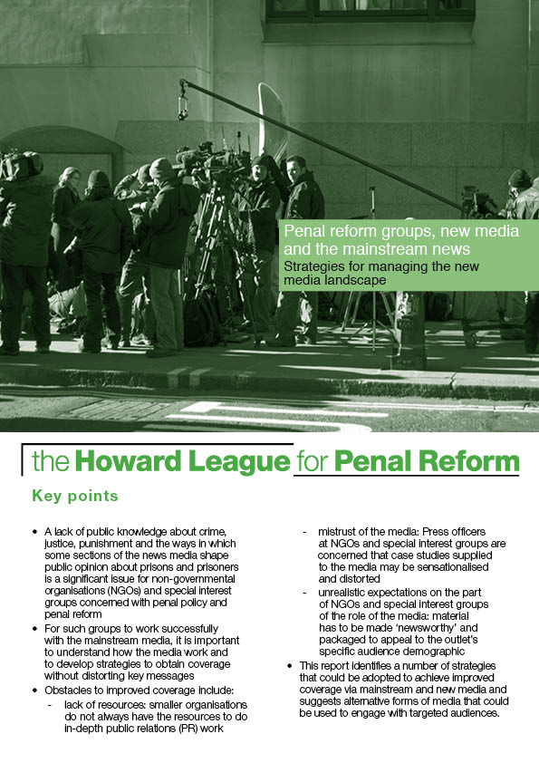 Penal reform groups, new media and the mainstream news report cover