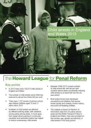 Child arrests in England and Wales 2013 research briefing cover