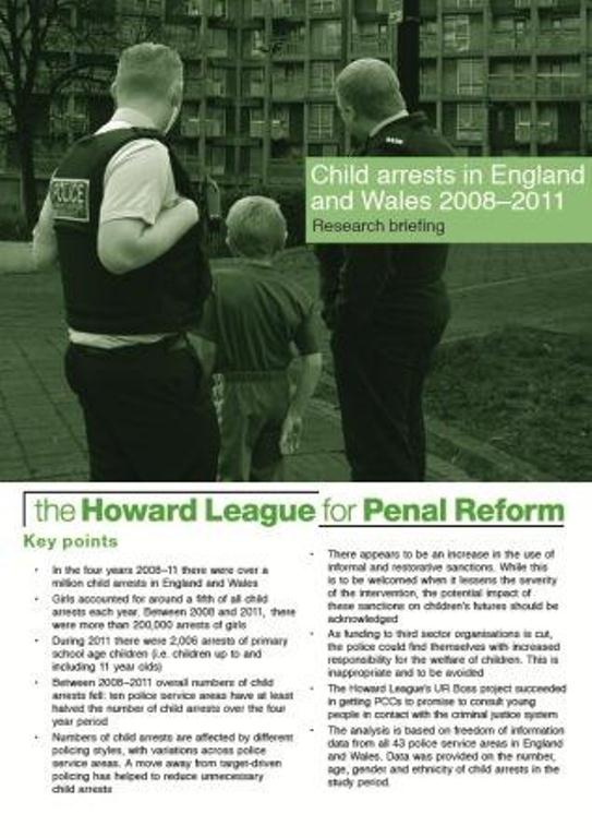Child arrests in England and Wales 2008-2011 research briefing cover