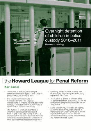 Overnight detention of children in policy custody 2010-2011 research briefing cover