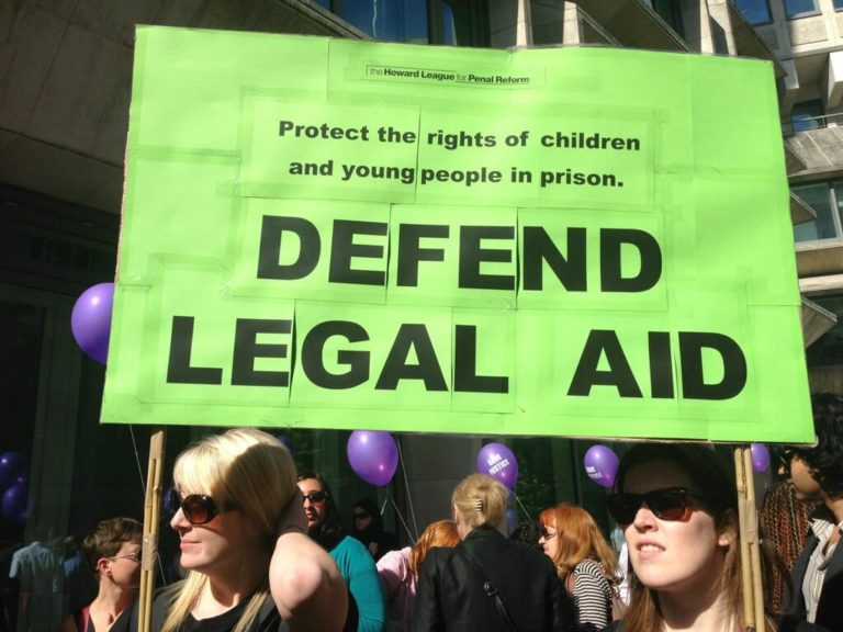 Legal aid: Howard League placard at a demonstration