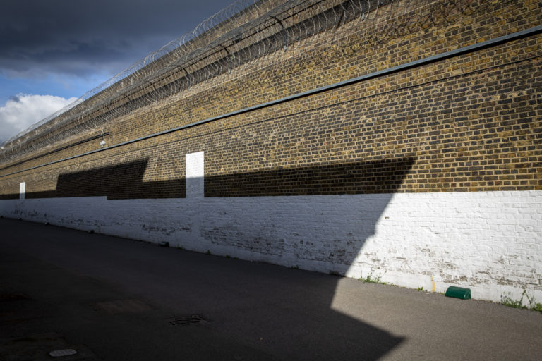 Exterior wall from inside the prison of HMP Pentonville
