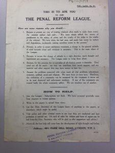 1910s Penal Reform League recruitment pamphlet